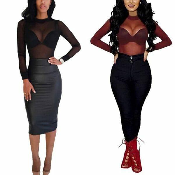 Sexy Women T Shirt See Through Transparent Mesh Tops Long Sleeve Sheer Slim Ladies Turtleneck T-Shirt Clothing Fashion Women's wears color: Black Burgundy