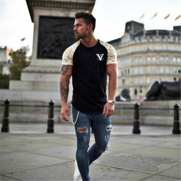 YEMEKE Brand T-Shirts 2018 Summer Short Sleeve O-neck Stripe Printed Loose Slim T shirt Mens Tops Tee Men's wears T-Shirt color: 1|2