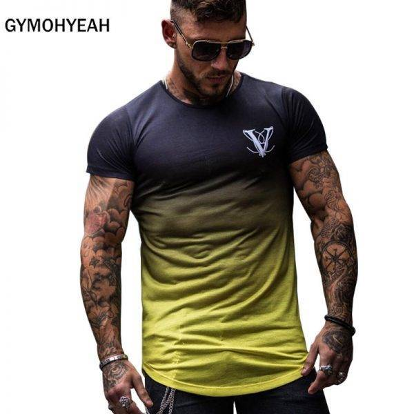 Gradient color Fashion T Shirt Men Fast compression Breathable Mens Short Sleeve Fitness Mens t-shirt Gyms Tee Tight Casual Top Men's wears T-Shirt color: 1|1-2|1-3|1-4
