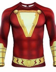 Shazam 3D Printed T shirts Men Compression Shirts Raglan Sleeve 2019 Newest Pattern Comic Tops Male Comics Cosplay Costume Cloth Men's wears T-Shirt color: Shazam