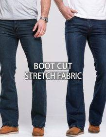 Mens Boot Cut Jeans Slightly Flared Slim Fit Famous Brand Blue Black jeans Designer Classic Male Stretch Denim jeans Jeans Women's Jeans color: Stretch Black|Stretch Deep Blue|Stretch Light Blue|Stretch Sky Blue