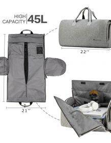 Modoker Travel Garment Bag with Shoulder Strap Duffel Bag Carry on Hanging Suitcase Clothing Business Bag Multiple Pockets Bags color: Black|grey