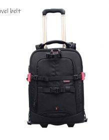 Travel Belt Photography should Travel Bags Multifunction profession High capacity Suitcase Wheels 18 inch Rolling luggage Bags color: big size black|small size black