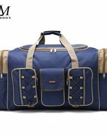 Thick Canvas Causal Duffle Bag Waterproof Mens Travel Bags Long Strap Anti-scratch Muliti-pocket Large Capacity Handbags L468 Bags color: Black|Blue|KHAKI|red