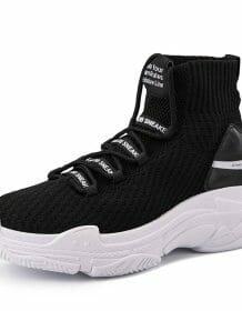 Shark Sneakers Women Men High Top Breathable Winter Warm Flats Platform Women Shoes With Fur Unisex Footwear Casual Shoes Women Women Shoes color: Black|black fur|white fur|White