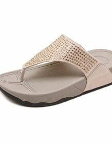 Rhinestone Women Slippers Flip Flops Summer Women Crystal Diamond Bling Beach Slides Sandals Casual Shoes platform Woman shoes Women Shoes color: Beige|Blue