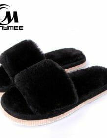 2018 Womens Fur Slippers Winter Shoes Big Size Home Slipper Plush Pantufa Women Indoor Warm Fluffy Terlik Cotton Shoe ZJ-MM Women Shoes color: ZJ-MM Black|ZJ-MM Gray|ZJ-MM Rose Red|ZJ-MM Watermelon Red|ZJ-MM Wine Red