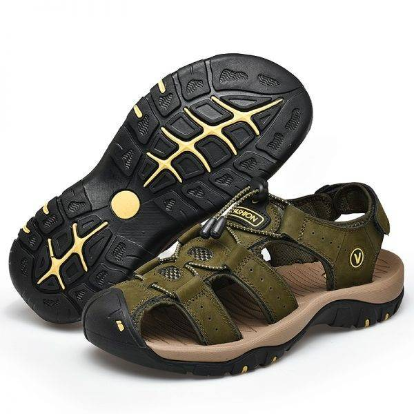 ZUNYU 2019 New Male Shoes Genuine Leather Men Sandals Summer Men Shoes Beach Sandals Man Fashion Outdoor Casual Sneakers Size 48 Men's Shoes color: Black|BLACK 01|BLACK 02|Blue|BLUE 01|BLUE 02|BROWN|BROWN 01|BROWN 02|DARK BROWN|Green|KHAKI|YELLOW|YELLOW 01