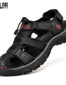 Classic Men Soft Sandals Comfortable Men Summer Shoes Leather Sandals Big Size Soft Sandals Men Roman Comfortable Men Summer Men's Shoes color: Army Green|Black|Black 2|Blue|Blue 2|BROWN|Brown 2|Gold|Khaki 2|Red Brown 2