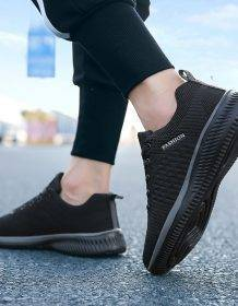 Exclusive New Mesh Men Casual Shoes Lac-up Men Shoes Lightweight Comfortable Breathable Walking Sneakers Tenis Feminino Zapatos Men's Shoes color: Black|Green|red