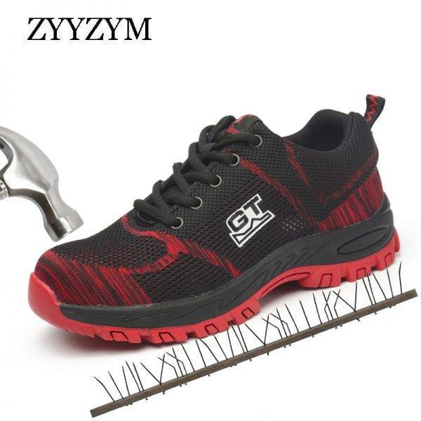 ZYYZYM Men Work Safety Boots Plus Size Unisex Outdoor Steel Toe Puncture Proof Protective Man Safety Shoes Men's Shoes color: Black|Blue|red