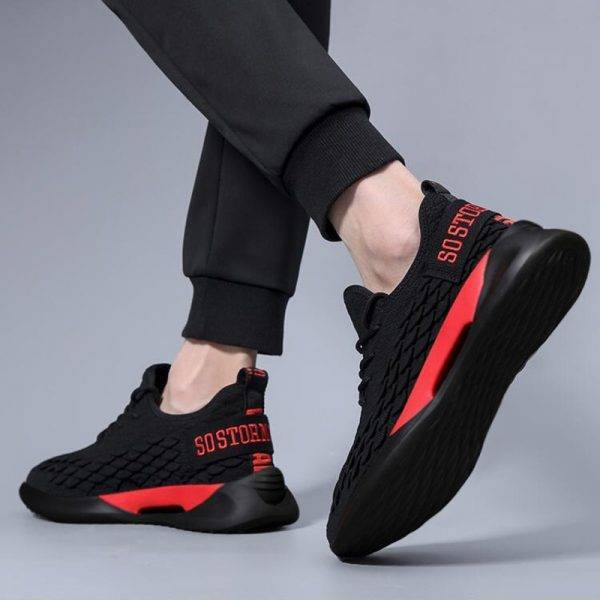 Man Sneakers Breathable Casual No-slip Comfortable Shoes Fashion Male air mesh Shoes Lace up Wear-resistant Summer Sports Shoes Men's Shoes color: Black|Gray|red