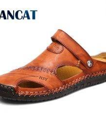 Summer Sandals Men Leather Classic Roman Sandals 2019 Slipper Outdoor Sneaker Beach Rubber Flip Flops Men Water Trekking Sandals Men's Shoes color: Black|Red Brown|Yellow Brown