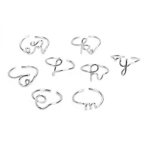 Unisex Gold Silver Color A-Z 26 Letters Initial Name Rings for Women Men Geometric Alloy Creative Finger Rings Jewelry Wholesale Fashion Jewellery Jewelry Sets 2ced06a52b7c24e002d45d: Resizable