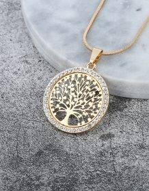 Hot Tree of Life Crystal Round Small Pendant Necklace Gold Silver Colors Bijoux Collier Elegant Women Jewelry Gifts Dropshipping Jewellery 8d255f28538fbae46aeae7: gold color|rose gold color|Silver Color