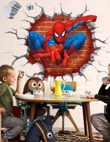 45*50cm hot 3d hole famous cartoon movie spiderman wall stickers for kids rooms boys gifts through wall decals home decor mural Home & Garden color: as the picture