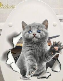 Hole View Cat Dog 3D Wall Sticker Bathroom Toilet Kids Room Decoration Wall Decals Sticker Refrigerator Waterproof Poster Home & Garden color: D1|D2|D3|D4|D5|D6|Q1|Q2