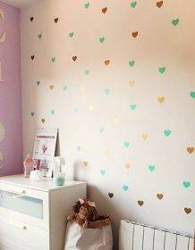 Heart Wall Sticker For Kids Room Baby Girl Room Decorative Stickers Nursery Bedroom Wall Decal Stickers Home Decoration Home & Garden color: Black|blush|canal blue|Dark Grey|Gold|liac|Light Blue|Light Grey|Mint|pea green|SLIVER|teal|YELLOW|Pink|White