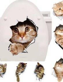 Cats 3D Wall Sticker Toilet Stickers Hole View Vivid Dogs Bathroom Home Decoration Animal Vinyl Decals Art Sticker Wall Poster Home & Garden color: A|Cat 1|Cat 10|Cat 11|Cat 12|Cat 13|Cat 14|Cat 15|Cat 16|Cat 17|Cat 18|Cat 19|Cat 2|Cat 3|Cat 4|Cat 5|Cat 6|Cat 7|Cat 8|Cat 9|Dog 1|Dog 2|Dog 3|Dog 4|Mouse