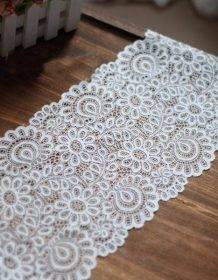 New Arrival 3Yards 22cm Black White Lace Fabric DIY Crafts Sewing Suppies Decoration Accessories For Garments Elastic Lace Trim Home & Garden color: Black|Off white
