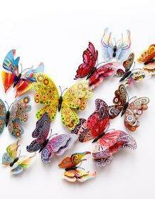 New style 12Pcs Double layer 3D Butterfly Wall Sticker on the wall Home Decor Butterflies for decoration Magnet Fridge stickers Home & Garden color: Blue|Chinese style|Colorful|Fuchsia|Green|Purple|red|YELLOW|Pink|White