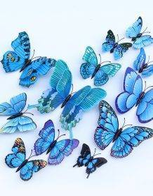 12pcs Multicolor Double Layer Wings 3D Butterfly Wall Sticker Magnet PVC Butterflies Party Kids Bedroom Fridge Decor Magnetic Home & Garden color: Blue|Chiness style|Green|Hot Pink|multicolor|Purple|red|YELLOW|Pink|White