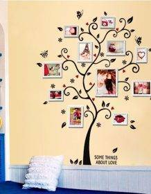 100*120Cm/40*48in 3D DIY Removable Photo Tree Pvc Wall Decals/Adhesive Wall Stickers Mural Art Home Decor Home & Garden color: Black