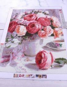 "Diy Round drill diamond painting cross stitch mosaics Full 100% cover embroidery ""Peony&Tea"" diamond embroidery Home & Garden size: 20x27cm|30x40cm|40x53cm|50x67cm"
