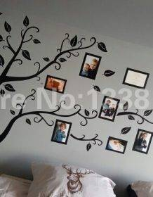 Free Shipping:Large 200*250Cm/79*99in Black 3D DIY Photo Tree PVC Wall Decals/Adhesive Family Wall Stickers Mural Art Home Decor Home & Garden Style: Modern