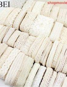 1-3.5cm 10yards Random Mix White Beige Cotton Lace Trims DIY Hometexile Clothes Edge Wrapping Cotton Ribbon Tape Cotton Material Home & Garden color: mix white and beige|random 1 style beige|random 1 style white|random 10stylesBeige|random 10stylesColor|random 10stylesWhite