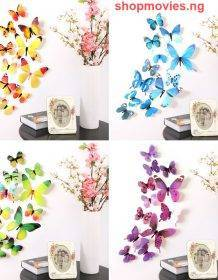 12Pcs Butterflies Wall Sticker Decals Stickers on the wall New Year Home Decorations 3D Butterfly PVC Wallpaper for living room Home & Garden color: Blue|Green|Purple|YELLOW|Pink