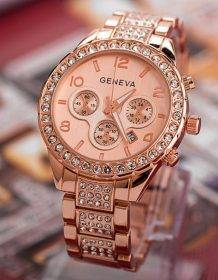 Luxury Women's Watches Rose Gold Watches Women Fashion Rhinestone Full Steel Ladies Metal Watch relogio feminino horloge dames Watch color: 0090-1|0090-2|0090-3