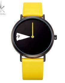 SHENGKE Quartz Wristwatches Watch Women Fashion Luxury Creative Montre Femme Top Brand Watches Leather Clock Reloj Mujer Watch color: Black|YELLOW
