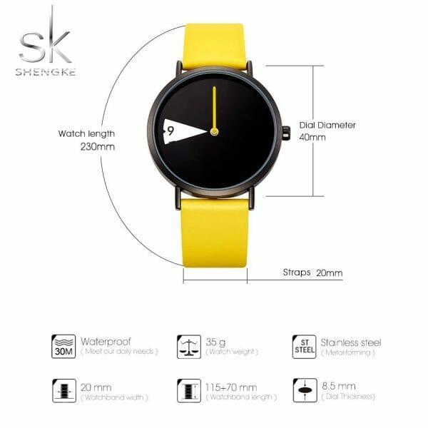 SHENGKE Quartz Wristwatches Watch Women Fashion Luxury Creative Montre Femme Top Brand Watches Leather Clock Reloj Mujer Watch color: Black|YELLOW