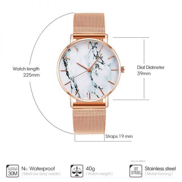 Fashion Rose Gold Mesh Band Creative Marble Female Wrist Watch Luxury Women Quartz Watches Gifts Relogio Feminino Drop Shipping Watch color: Black|Gold|Rose Gold|Silver