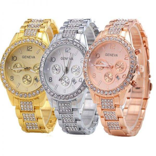2019 New Famous Brand Women Gold Geneva Stainless Steel Quartz Watch Military Crystal Casual Analog Watches Relogio Feminino Hot Watch color: 1|2|3|4|5|6|Gold|rosy gold|Silver