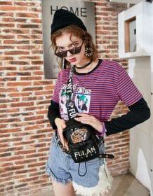 Chest bag women's 2020 New all-match tiger head embroidery women's messenger bag Hip-hop style Mini bag Fashion Bag hips bags Bags Fashion Men bags Men handbag Purses & Wallets color: Black|KHAKI|Pink