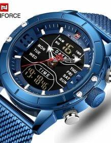 NAVIFORCE Mens Watches Top Luxury Brand Men Sports Watches Men's Quartz LED Digital Clock Male Full Steel Military Wrist Watch Electronics Fashion Watch color: BB|BEBE|CECE|RGB|SB