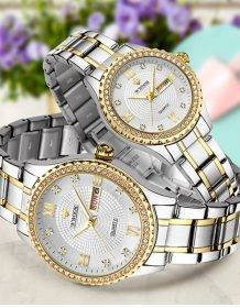 WWOOR 2020 Couple Watches Men and Women Luxury Brand Fashion Diamond Stainless Steel Quartz Pair Lovers Watch Gifts For Birthday Electronics Fashion Watch color: Gold black Men|Gold black Women|Gold Men|Gold White Men|Gold White Women|Gold Women|Silver Black Men|Silver Black Women|White Gold Men|White Gold Women