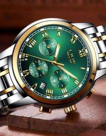 Relojes Hombre 2020 LIGE New Watches Men Luxury Brand Chronograph Male Sport Watches Waterproof Stainless Steel Quartz Men Watch Electronics Fashion Watch color: L Gold black|L Gold blue|S Gold black|S Gold blue|S Gold Green|S Gold White|S Silver black|S Silver blue
