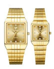 Golden Quartz Watch Men Women Luxury Watches relogio masculino Luxury Gold Bracelet Wrist Watches Steel Female Male Clock 8808 Electronics Fashion Watch color: Man Gold Dial|Man White Dial|Woman Gold Dial|Woman White Dial