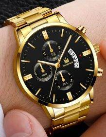 2019 Men luxury business Military Quartz watch golden stainless steel band men watches Date calendar male clock Relogio direct Electronics Fashion Watch color: A|B|C|D|E|F|G|H|I|J|K|L|N