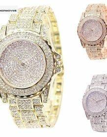 Fashion Watch Women Luxury Round Quartz Watch Wrist Watches for Women Shiny Gold Sliver Watches Wrist Watch For Ladies Gift Electronics Fashion Watch color: golden|ROSE GOLDEN|Silver