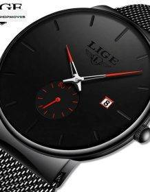 LIGE Quartz Clock Sports Men Watch Top Brand Luxury Famous Dress Fashion Watches Male Unisex Ultra Thin Wrist watch Para Hombre Electronics Fashion Watch color: Black blue|Black Gold|Black Red|Black rose
