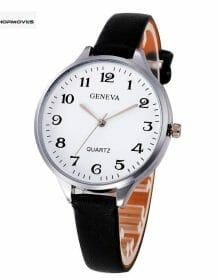 GENEVA Women Watch Luxury Brand Casual Simple Quartz Clock montre Femme Clock For Women Leather Strap Wrist Watch Reloj Mujer Electronics Fashion Watch color: black B|Black-A|Brown A|Brown B|Green|Pink|White