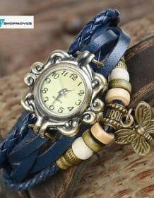 Women's Casual Vintage Multilayer Butterfly Faux Leather Bracelet Wrist Watch Ladies Female Clock Montre Femme Relogios 2017 Hot Electronics Fashion Watch color: Black|Blue|coffee|Green|Orange|red