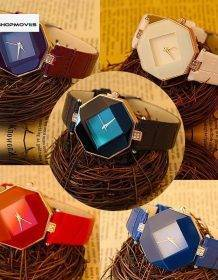 Women Watches Gem Cut Geometry Crystal Leather Quartz Wristwatch Fashion Dress Watch Ladies Gifts Clock Relogio Feminino 5 color Electronics Fashion Watch color: Black|Blue|Purple|red|White