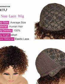 Siyo 100% Human Hair Wigs for Black Women 1b/27 Ombre Short Curly Brazilian Remy Human hair Full Wig with Hair Bangs Afro Curl Fashion Human Hair Wigs shipsfrom: China