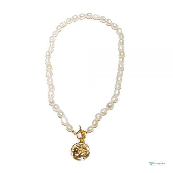 LiiJi Unique White Baroque Pearl Necklace Gold Color Fashion Style Coin Charm Choker Necklace 45cm For Women Girl Jewelry Gift Beaded Necklaces Chokers Crystal Necklaces Jewelry Necklaces a4a426b9b388f11a2667f5: White