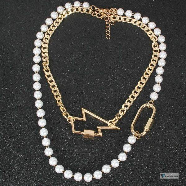 2020 New European Retro Alloy Crystal Lightning Star Necklace Button Carabiner Multi Layer Gold Chains Pearl Necklaces Women Beaded Necklaces Chokers Crystal Necklaces Jewelry Necklaces 8d255f28538fbae46aeae7: gold color|Light Yellow Gold Color|Pure Gold Color|rose gold color
